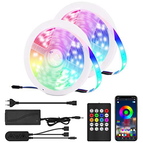 IREGRO LED Strip 10M RGB LED Streifen Band Lichtleiste mit APP und Fernbedienung, Sync mit Musik, SMD 5050 Led Strip 12V, Farbwechsel LED Lichterkette für Zuhause, Schlafzimmer, TV, Schrankdeko