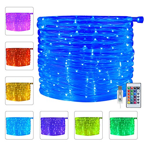 Ollny 100 LED Rope Lights 33ft 16 Colors Changing Indoor Lights USB Powered Multi Color Twinkle Rope Tube Fairy Lights with Remote for Indoor Wedding Christmas Party Waterproof Outdoor Decorations