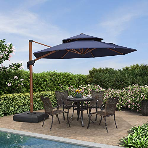 PURPLE LEAF 10ft Patio Umbrella Outdoor Round Umbrella Large Cantilever Umbrella Windproof Offset Umbrella Heavy Duty Sun Umbrella...