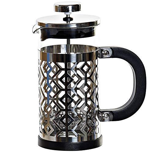 MGE - Cafetera Émbolo - Cafetera Francesa - Expresso - Borosilicato + Acero - 350 ml - Negro