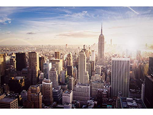 Oedim Stickers muraux Photo Image | Lever de Soleil Manhattan | De 500 x 300 cm | Sticker Vinyle Adhésif Autocollant Fond Mural |
