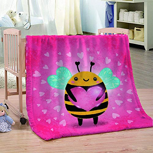 DHYYQX 3D Pink Bee Love Flannel Blanket Throw Blanket for Kids Children Adults Air Conditioning Blanket Nap Blanket 53x59 Inches(135x150cm) for Home Bed, Sofa Soft Warm Lightweight