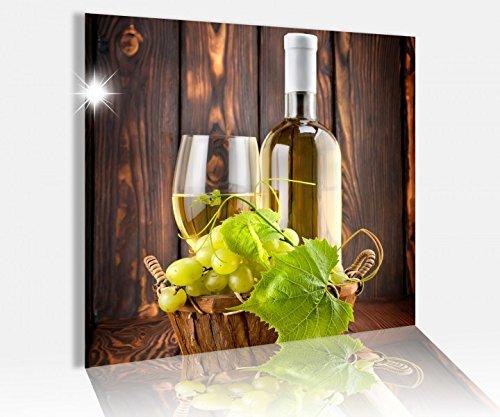 Acrylglasbild 50x50cm Wein Weißwein Glas Flasche Trauben Glasbild Bilder Acrylglas Acrylglasbilder Wandbild 14C558, Acrylglas Größe3:50cmx50cm