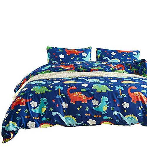2 Teilige Microfaser Bettwäsche Dinosaurier Jungen Mädchen Blau Bettwäsche Set Bettbezug Dino 135 x 200 cm mit Reißverschluss und Kissenbezug 80 x 80 cm