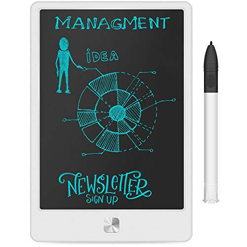 LCD Writing Tablet, Ksera 9 Inch Electronic Writing Doodle Digital Drawing Board, Graphic Drawing Erasable Ewriter Tablet with Lock Key for Kids Adults Business Office Home School (White)