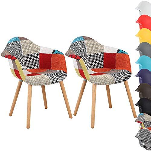 N/A 2er Set Esszimmerstühle Küchenstuhl Wohnzimmerstuhl Design Stuhl mit Rückenlehne Leinen Massivholz Patchwork Mehrfarbig Freizeitsesseln aus Stoff mit Patchworkbezug für das Esszimmer (Patchwork)