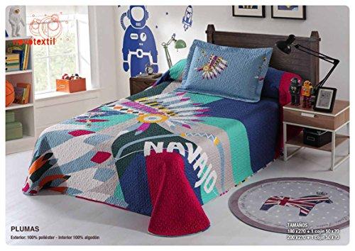 NH NOVOTEXTIL HOGAR Colcha Bouti Estampada de Verano y Entretiempo, Multicolor,Varias Medidas y Colores Disponibles (Plumas, Cama 90 cm)