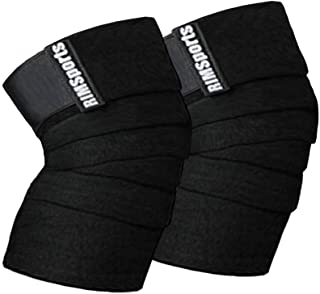 RIMSports Knee Wraps for Weightlifting - Powerlifting,Workout & Squats   Knee Wrap - Reduces Stress on Quadriceps I Ideal Elastic Support & Compression Strength