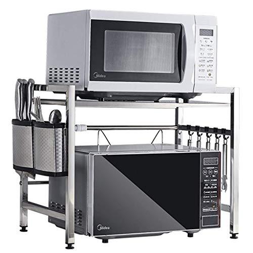 ZGQA-GQA Estantería de cocina para montaje en pared para horno de microondas, multifunción, multicapa, para almacenamiento, horno, utensilios de cocina (color: plata, tamaño: 46 x 43 x 32 cm)
