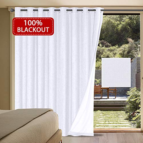 """H.VERSAILTEX 100% Blackout Patio Door Linen Curtains for Sliding Door- Extra Long and Wide Blinds Thermal Insulated Waterproof Textured Linen Drapes for Glass Door (White, 100"""" x 84"""")"""