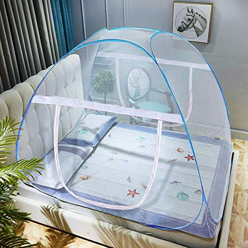 adofo Colored Border Foldable Flexible for Double Bed, King Size Bed, Queen Size Bed for Baby and Adult Protection Mosquito Net