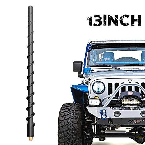 VOFONO 13 Inch Spiral Antenna Compatible with Jeep Wrangler JK JKU JL JLU Rubicon Sahara Gladiator 2007-2021 | Car Wash Proof Short Rubber Antenna Replacement | Premium Car Radio Reception