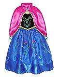 AmzBarley Niña Princesa Anna Coronación Vestido Disfraz Niño Cumpleaños Fiesta Cosplay Carnaval Cosplay Halloween Ceremonia Traje Blue 7-8 Años 130
