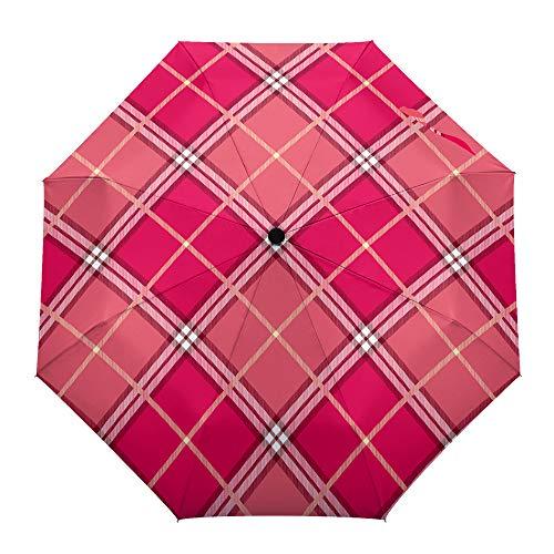 Faltbarer Reise-Regenschirm, traditioneller schottischer Schottenmuster, automatisches Öffnen/Schließen, kompakter winddichter Regenschirm für Mädchen/Frauen/Erwachsene