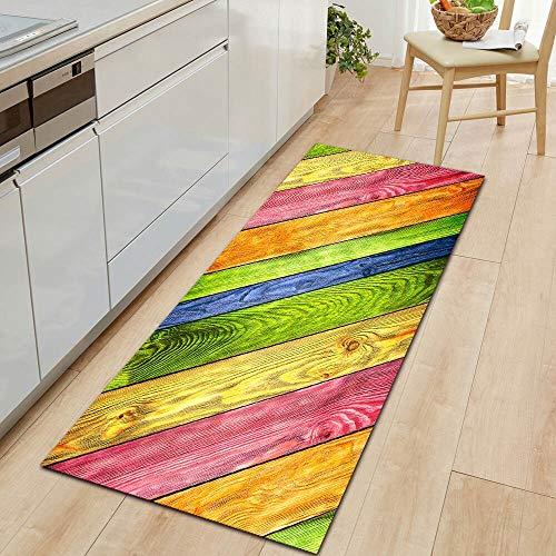 OPLJ Alfombrillas de Cocina de Grano de Madera de Estilo Moderno Alfombrillas de Puerta Lavables Antideslizantes alfombras de Sala de Estar rectangulares alfombras de Puerta A6 60x90cm