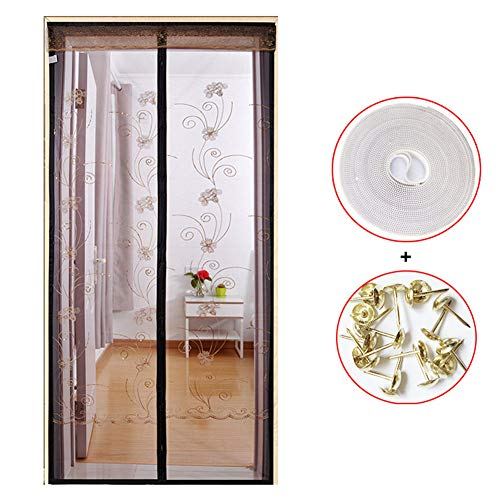 Lunch Box - Mosquitera magnética para puerta, cortina de mosquitera para puerta, con tiras magnéticas ultra silenciosas, evita la entrada de mosquitos, c, 170X220CM