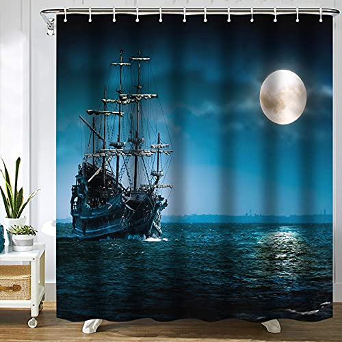 SPXUBZ Pirate Ghost Ship Full Moon Shower Curtain Waterproof Bathroom Decor Polyester Fabric Curtain Sets with Hooks