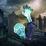 GOOSH 6 Feet High Halloween Inflatable Terror Green Zombies Raise Hands Blow Up Yard Decoration Clearance with LED Lights Built-in for Holiday/Party/Yard/Garden
