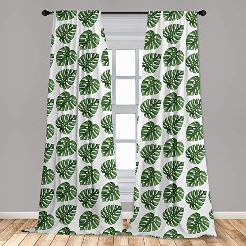 """Ambesonne Green Leaf Curtains, Tropical Jungle Leaves Palm Trees of Hawaii Watercolor Style Summer Nature, Window Treatments 2 Panel Set for Living Room Bedroom Decor, 56"""" x 84"""", White Green"""