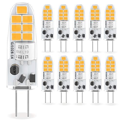 Yuiip G4 LED Lampe 2W Warmweiß 3000K SMD Glühbirnen Ersatz für G4 10W 20W Halogenlampen, 12V AC/DC, 360° Abstrahlwinkel, Kein Flackern G4 LED Leuchtmittel Birne, Nicht Dimmbar,10er Pack