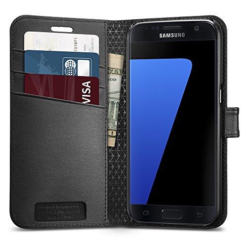 Etui Galaxy S7, Coque Galaxy S7, Spigen® [Wallet S] Noir Portefeuille Etui Housse Coque Premium Etui pour Samsung Galaxy S7 (2016) - (555CS20027)