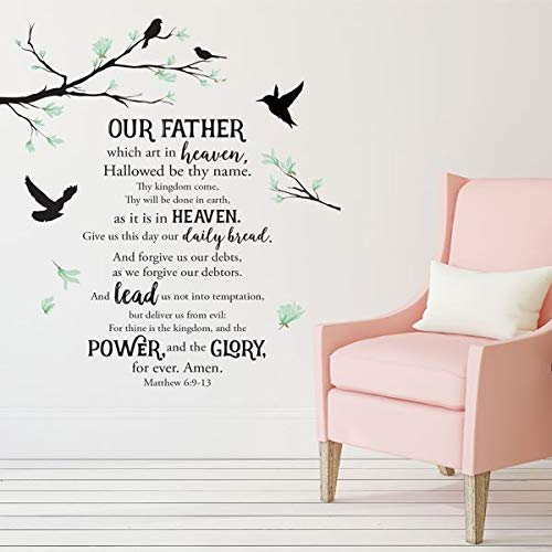 African American Expressions The Lord's Prayer Peel and Stick Wall Art Decal - Inspirational Home Decor - Adhesive and Reusable Matte Vinyl Wall Sticker - 23.6' x 35.4' Sheets (x2)