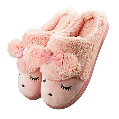 GaraTia Women#039s Sheep Warm Plush Soft Sole Indoor Slipper Red 5565 M US