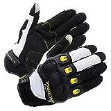 Mdsfe Écran Tactile Moto Full Finger Knight Gants d'équitation Maille d'été Gants de Moto Racing Guantes Moto Taille SML XL - Jaune, XL