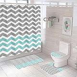 4-teiliger Duschvorhang, grau-blau, kreativer Wellendesign, Badezimmer-Vorhang, wasserdicht & schimmelresistent, mit Anti-Rost-Tüllen, WC-Deckelbezug & Badematte, rutschfester Teppich