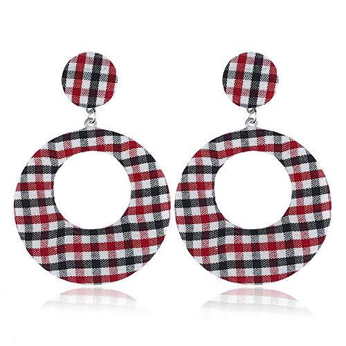 CEXWZQ Ohrringe für Damen, Stoff, Karomuster, großer Ring, langer Anhänger, Geschenk-Schmuck