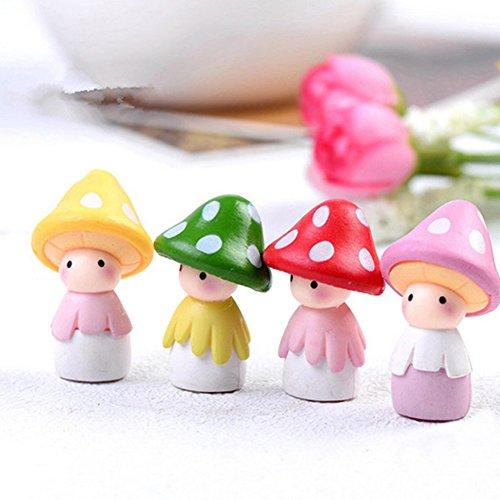 Gemini_mall Fairy Garden Ornaments, 4pcs Miniature Mushroom Doll Fairy Garden Ornament DIY Dollhouse Garden Decor Home Decoration (4pcs Miniature Mushroom Dolls)