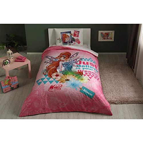 Winx Bloom Fairytale Bettwäsche-Set, 100 % Baumwolle, Lizenzprodukt, Bettbezug, Kissenbezug, Spannbetttuch