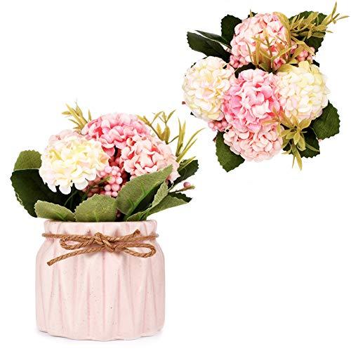 Flores artificiales para decoración de hortensias artificiales con pequeño jarrón de cerámica mini plantas en maceta para bodas, fiestas, oficina, hogar, decoración de mesa (rosa)