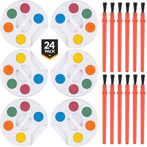 Bedwina Mini Watercolor Kids Paint Set - (Bulk Pack of 24) - 5 Water Color Paints, Palette Tray and Painting Brush, for Art Party Favors, Kids Prizes, Stocking Stuffers and Paint Party Supplies