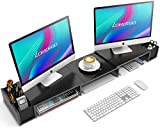 LORYERGO Dual Monitor Stand Riser - 3 Shelf Screen Laptop Stand with Storage Accessories Slots, Length and Angle Adjustable Desktop Stand Storage Organizer for Computer, Laptop