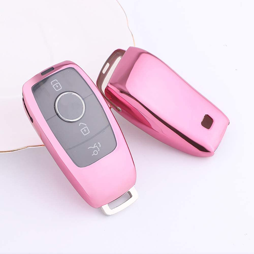 Cadillac Suitable for Mercedes-Benz UILB Car Key case Transparent TPU Soft Rubber BMW Camry car Key Protective Cover Mercedes-Benz/E Series Pink