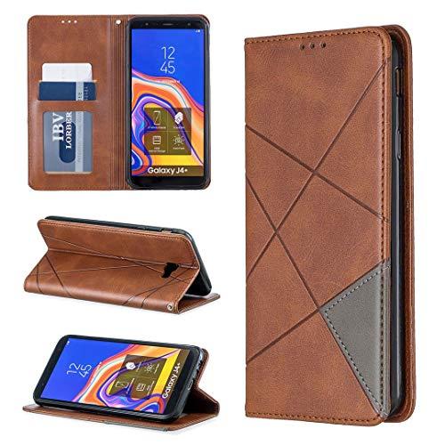 Samsung Galaxy J4 Plus Hülle, SATURCASE Rhombus PU Lederhülle Eingebauter Magnet Brieftasche Kartenfächer Standfunktion Schutzhülle Handyhülle Tasche Hülle für Samsung Galaxy J4 Plus 2018 (Braun)