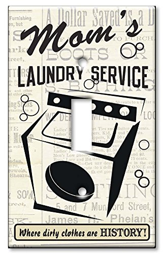 Art Plates - Single Gang Toggle OVERSIZE Switch Plate/OVER SIZE Wall Plate - Mom's Laundry Service