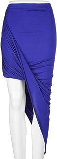 Falda asimétrica elástica de Talle Alto Faldas largas drapeadas de Corte Ajustado para Uso Diario y Ocasiones Especiales