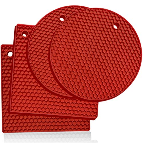 Premium Silicone Trivet Mats: 4 Multi-purpose Pot Holder, Oven Mitts Hot Pads– Versatile, Heat Resistant, Non-slip Jar Opener, Gripper Pad, Garlic Peeler, Drying Mat, Coaster - Heavy-Duty (Red)