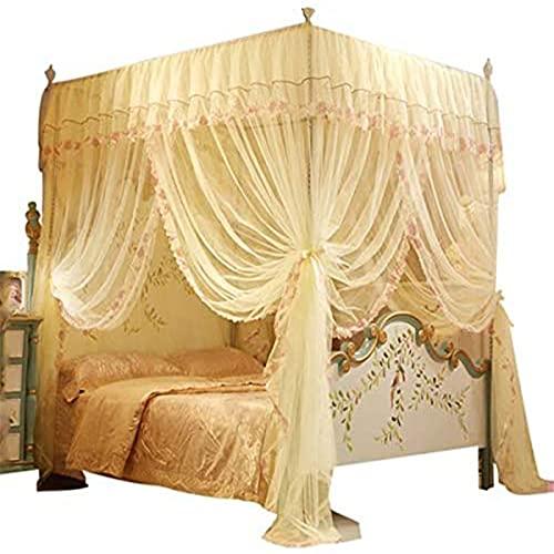Sängtak sänghimmel 4 hörn post baldakin sänggardin, med mysig drapering fyrkantigt nät, 3 öppnande myggnät, prinsessa sovrum dekoration 1,5 m
