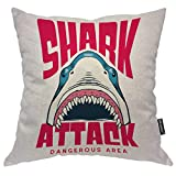 Moslion Shark Pillows Decorative Pillow Case Cute Ocean Animal Fish Sharks with Wide Mouth Sharp Teeth Throw Pillow Cover Square Cushion Accent Cotton Linen Home 18x18 Inch Pink