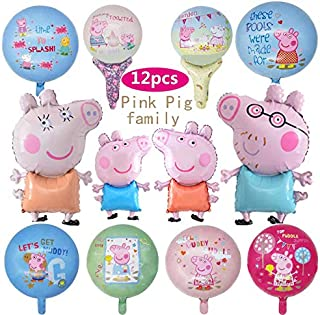 12 Pcs Pink Pig Helium Foil Balloons,Pink Pig Theme Birthday Party Decoration for Kids