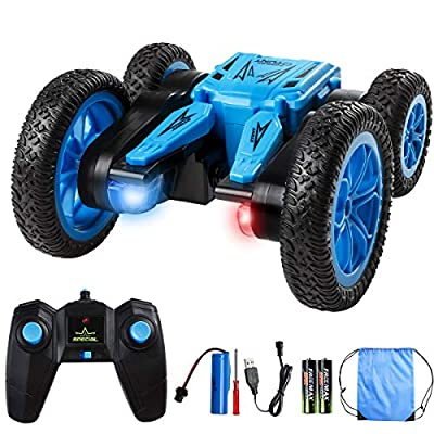 Minsk Remote Control Stunt Car Toy, 4WD RC Cars Double Sided Rotating Vehicles 360° Flips to Bloom, 2.4GHz High Speed Rechargeable Toy Gifts for 3, 4, 5, 6, 7, 8 Year Old Boy Christmas Birthday