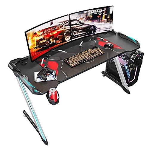 SONNI Mesa Gaming Grande 140cm,Mesa de Juegos para Computadora LED,con Alfombrilla de ratón,Gancho para Auriculares y Portavaso,Gaming Desk Cabe 2-3 Monitores