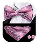 Dubulle Mens Pink Bow Tie Paisely Pocket Square Hanky Handkerchief Wedding Set