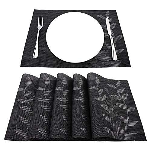 Zwarte Keuken Eetkamer Hittebestendige anti-slip isolatie PVC Geweven Plaats Mat 6 Stks