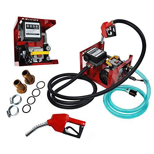 Heizölpumpe Dieselpumpe DP60L Zählwerk Diesel Tankstelle 220V selbstansaugend, Automatik-Zapfpistole, Zählwerk, flexiblem Schlauch, Messing-Rückschlagventil, Tüllen, Schellen, 3600 l/h Dieselförderung