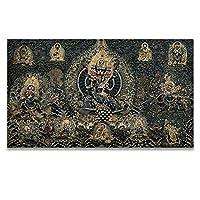 ポスター Thangka Buddha Painting Tibetan India中国の宗教スタイルキャンバスプリント絵画アート壁画リビングルームの家の装飾 MJZJP (Color : A, Size (Inch) : 60x103cm No Frame)