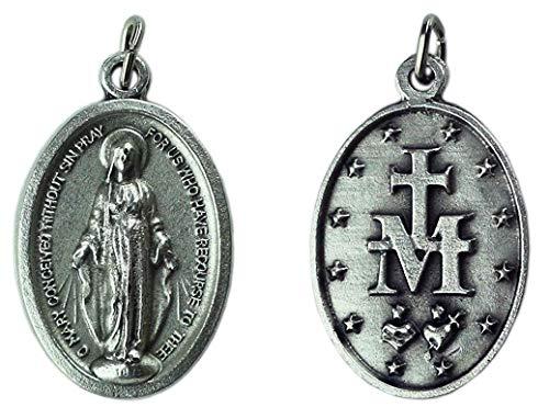 Eurofusioni Medalla chapeada Plata Virgen Milagrosa Pray FOR US - h 2,5 cm - 10 Piezas